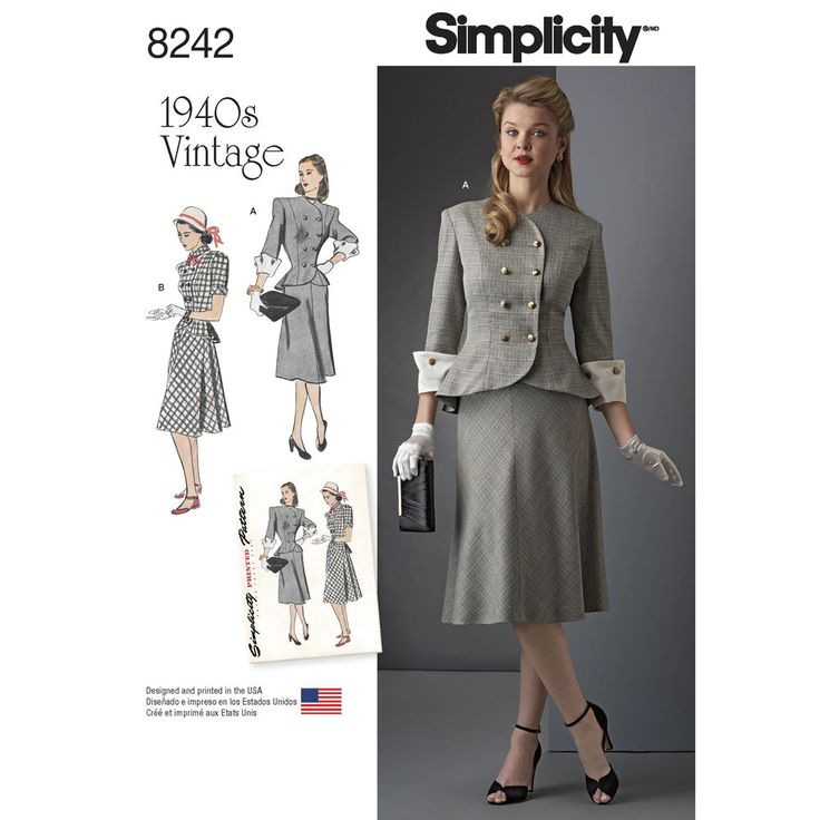 Simplicity 8242 vintage 1940s suit or two-piece dress, available in Misses and Plus size. Features double button front top or jacket with peplum shape in short sleeves with round collar or 3/4 sleeve with detachable contrast cuff and shaped neckline, and a skirt with soft flare. Simplicity sewing pattern.