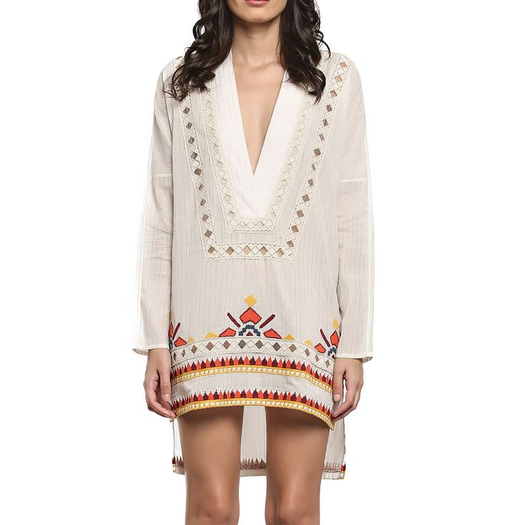 Hemant and Nandita White Shimmer Tunic