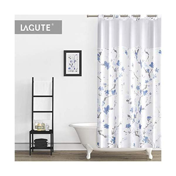 Lagute Snaphook Hookless Shower Curtain With Snap In Liner With