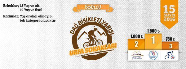 """İstiklal Madalyalı Şanlı şehrimizde """"Urfa Sokakları Dağ Bisikleti Yarışı"""" 15 Mayıs Pazar günü start alacak."""