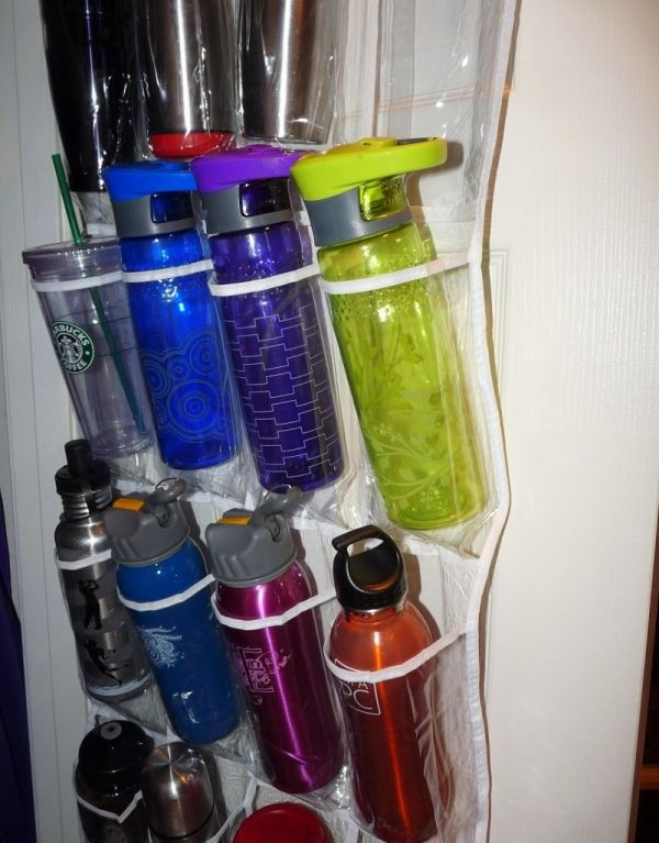 water-bottle-hanging-caddy from an over-the-door shoe storage unit