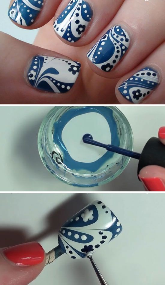Blue & White Water Marble with Flowers | 22 Easy Nail Art Designs for Short Nails | DIY Nail Art for Short Nails Tutorial