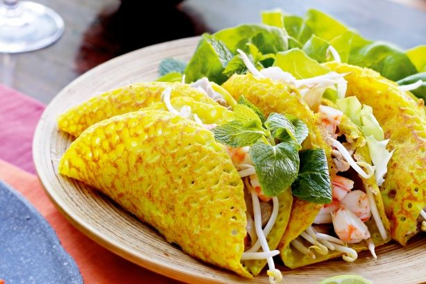 Dinner tonight: Banh xeo (Vietnamese pancakes)  (Delicious! Made the pancakes, not the filling.)