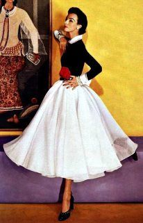 .Black & White was very big from the 30's thanks to Coco Channel, through the 50's as this image shows...touch of red..perfect midi length....tiny inset waist and Peter Pan white collar (full skirt)...all trending now!
