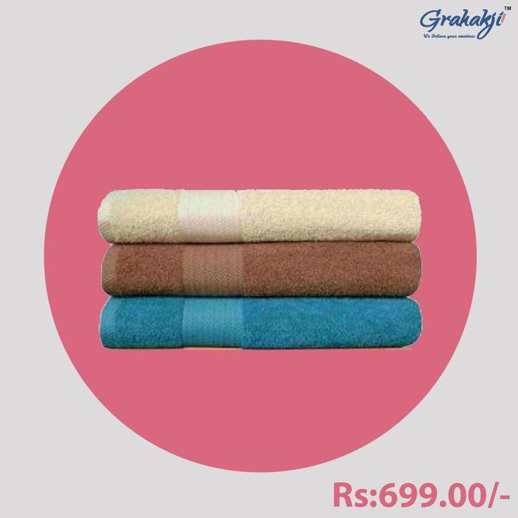 SET OF 3 LARGE SIZE COTTON TOWELS- M1 #Cotton #towels #online #shopping #clothing #homefurnishing #napkins #grahakji