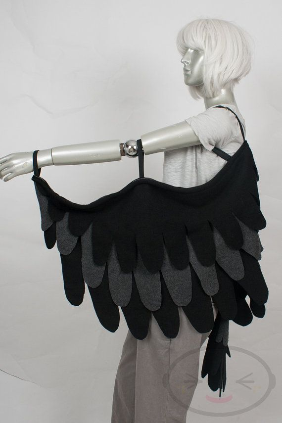 Long Black Raven Feather Wings and/or Tail Set by lemonbrat