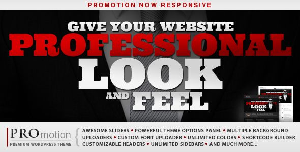 EXCELLENT Site Model & Theme with multiple OPTIONS and built in features - Promotions, Corporate, Creative, Events, et al!      ProMotion Responsive WordPress Theme