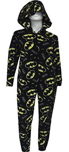 DC Comics Batman Hooded Onesie Pajamas - Made for women, this onesie is a soft black fleece and is covered with the DC Comics Bat symbol in yellow, white and gray.