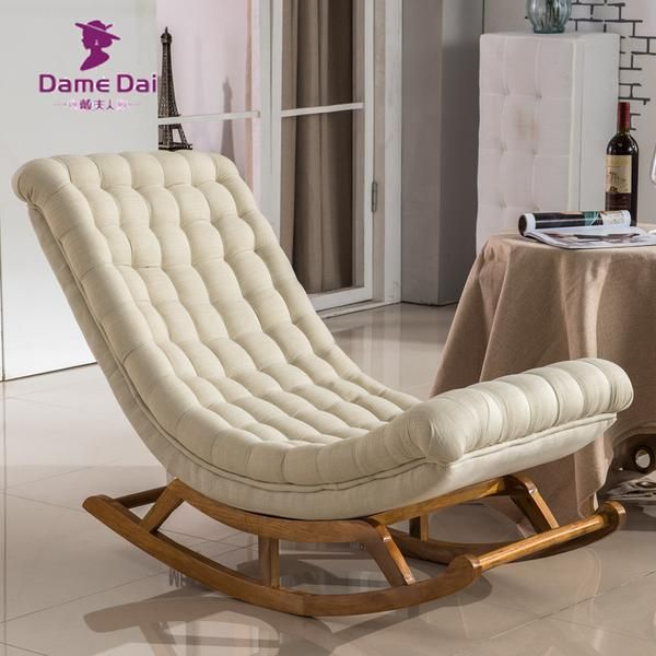 Modern Design Rocking Lounge Chair Fabric Upholstery And Wood For Home Saki Shop Chair Fabric Upholstered Rocking Chairs Rocking Chair