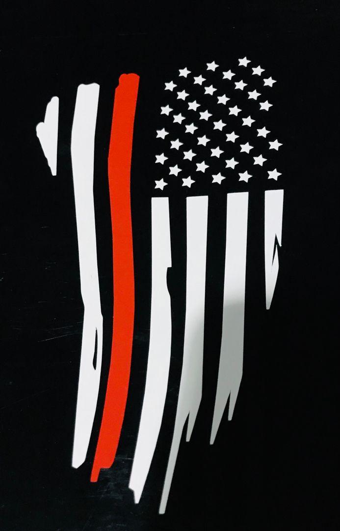 Firefighter Stripe Red Line Flag Sticker American Flag Art Firefighter Thin Red Line Flag