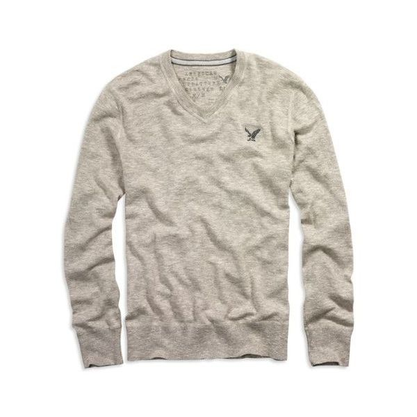 AE Men's V-Neck Sweater (Hazelnut Marl) ($40) ❤ liked on Polyvore featuring men's fashion, men's clothing, men's sweaters, tops, blusas, clothing & accessories, men, mens marled sweater, mens v neck sweater and american eagle mens sweaters