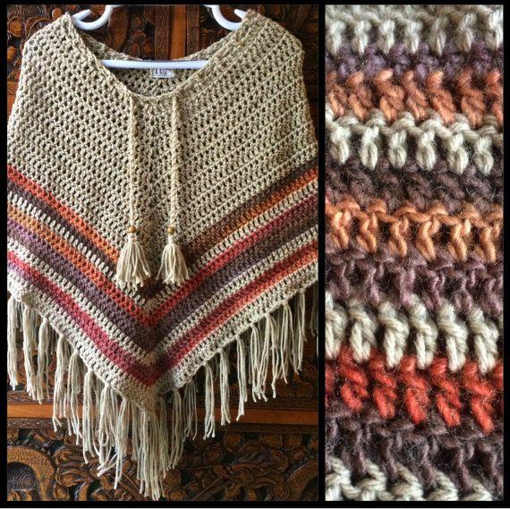 Boho crochet poncho por LittleDoLah en Etsy