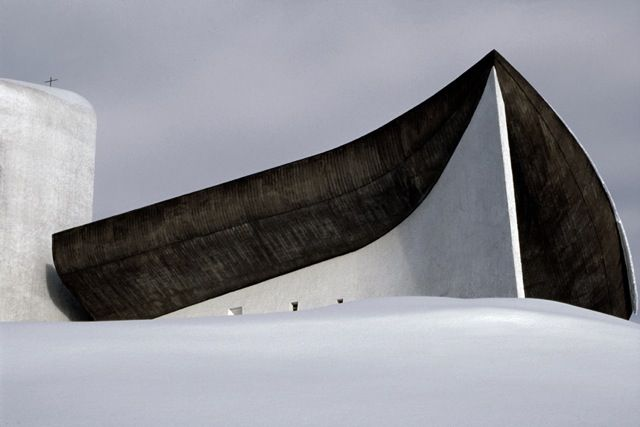 Le Corbusier's Ronchamp in the snow