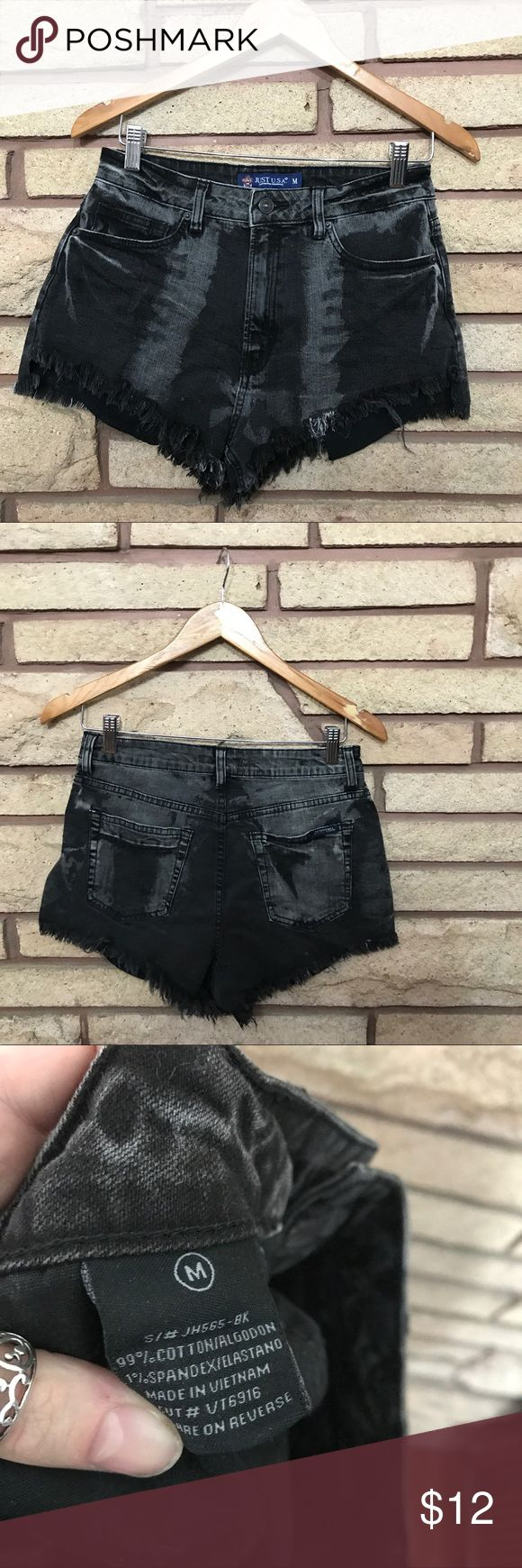 Fun High Waisted Black Denim Shorts 🌑Unique High waisted shorts   🌘In excellent used condition    🌗Material: 99% cotton, 1% spandex 🌖Dimensions: 14in waist, 10in long  🌕Offers Welcome 🌔Fast shipping 🌓Sorry, no trades 🌒Bundle and save 30% off two or more items 🌑Free gift with every purchase Just USA Shorts Jean Shorts