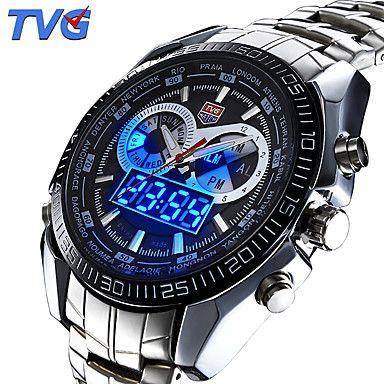 Herren+Sportuhr+/+Armbanduhr+Japanischer+Quartz+LED+/+Kalender+/+Wasserdicht+/+Duale+Zeitzonen+/+Alarm+/+Sportuhr+/+Nachts+leuchtend+–+EUR+€+24.29