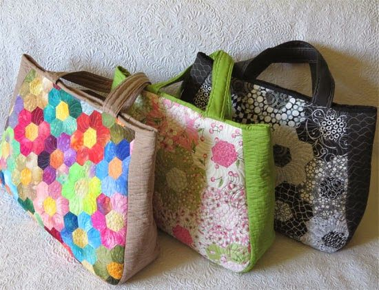 Remembering Paris- traveling in style. Large bags, perfect for showcasing favorite English paper pieced hexagon flowers.