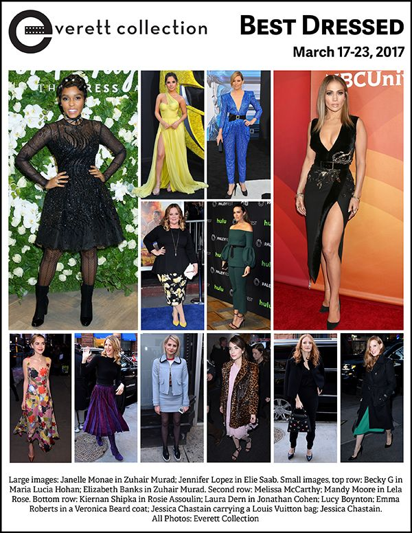 Large images: Janelle Monae in Zuhair Murad; Jennifer Lopez in Elie Saab. Small images, top row: Becky G in Maria Lucia Hohan; Elizabeth Banks in Zuhair Murad. Second row: Melissa McCarthy; Mandy Moore in Lela Rose. Bottom row: Kiernan Shipka in Rosie Assoulin; Laura Dern in Jonathan Cohen; Lucy Boynton; Emma Roberts in a Veronica Beard coat; Jessica Chastain carrying a Louis Vuitton bag; Jessica Chastain. All Photos: Everett Collection