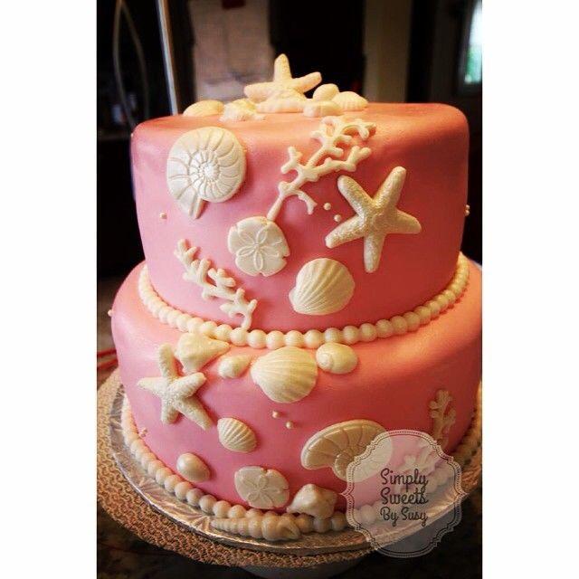 Beach themed bridal shower cake. #bridalshowercake #creativecakes #beachcake #prettyinpink #bridalshower #simplysweetsbysusy (watermark designed in @WordSwag)