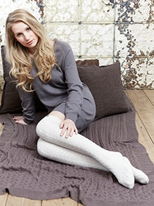 LIV - Knee Cable Socks from organic merino wool made in the UK using mulesing free and Bluesign certified merino wool.