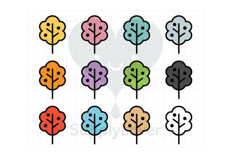 TREE Clip-Art Commercial Use, Tree, Fruit, Nature, Line, Garden, Outline, Symbol, Icon, Bush, Foliage, 12 Colors - B0083