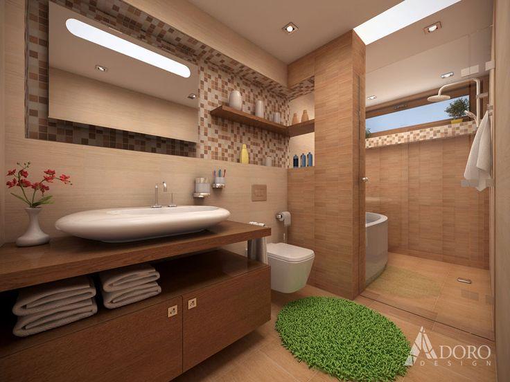 Bathroom with wood decor tiles / Баня с плочки в дървесен декор