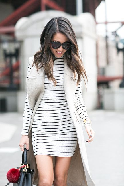 grey sleeveless trench coat, white/black stripped long sleeve dress