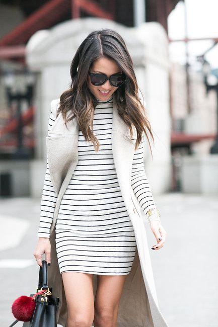 grey sleeveless trench coat, white/black stripped long sleeve dress