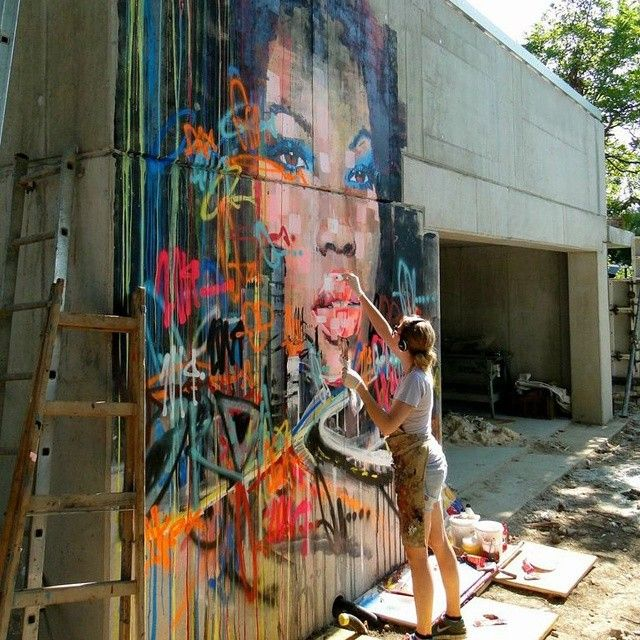 Four days later and this is what Kilmany-Jo Liversage's mural in Vienna is looking like. #urbanart #streetart # graffiti #murals #WORLDART