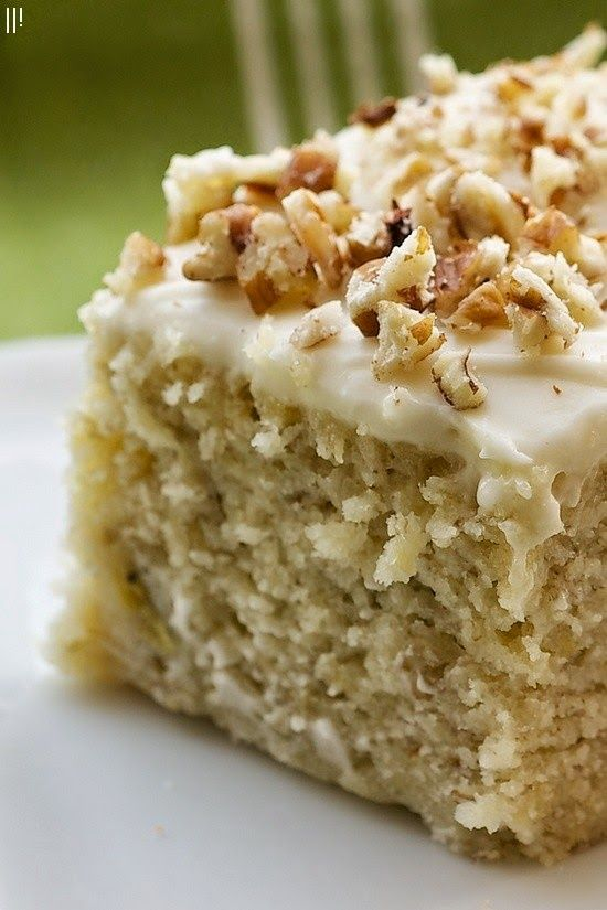 Banana Cake with Cream Cheese Frosting | http://sakurasite.com/banana-cake-with-cream-cheese-frosting-2/