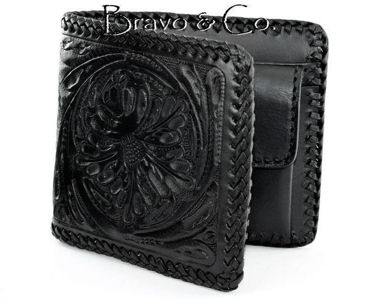1CW-043 Bravo & Co. Genuine Cow Leather Tooled Carved Bifold Men Wallet. #BravoCollection