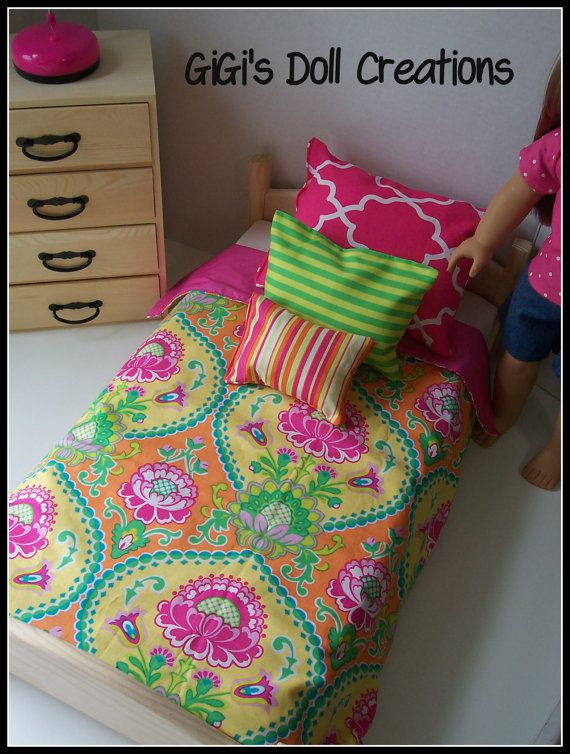 Pink and lime green Bedding set  for by GiGisDollCreations on Etsy, $15.99