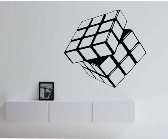 rubik 39 s cube vinyl wall decal sticker art decor bedroom. Black Bedroom Furniture Sets. Home Design Ideas