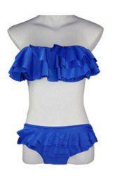 $10.18 Multilayered Flounces Solid Color Divided Type Nylon Swimwear Bikini Set For Women