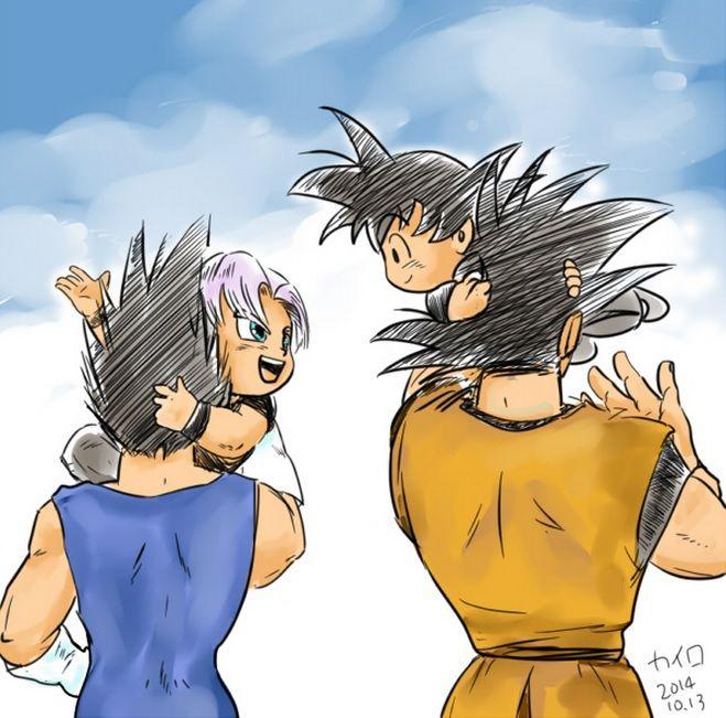 Vegeta, Trunks, Goku, & Goten