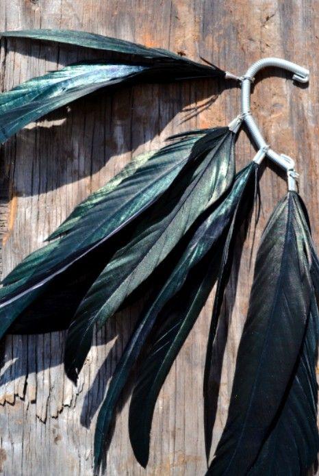 Raven Black Crow Feather Ear Cuff by francisfrank on Etsy