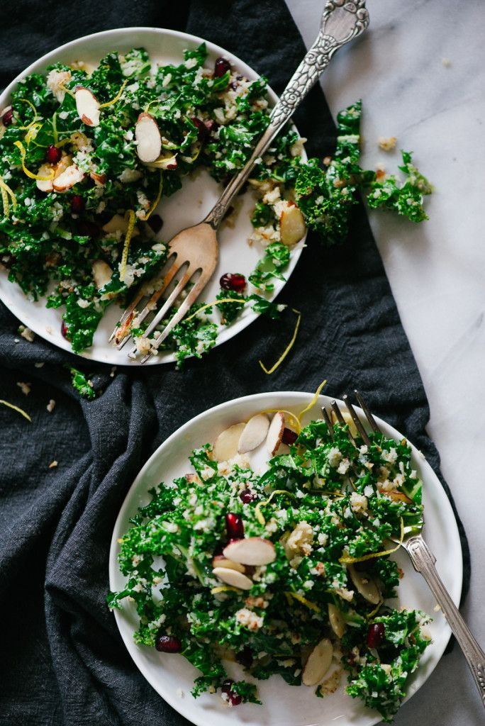 A perfect salad with seasonal ingredients! Winter Kale Salad with Pomegranate, Almond and Cauliflower