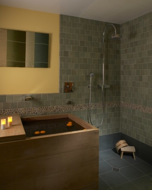 Asian Style Bathroom Decor: Japanese Soaking Tub + Shower