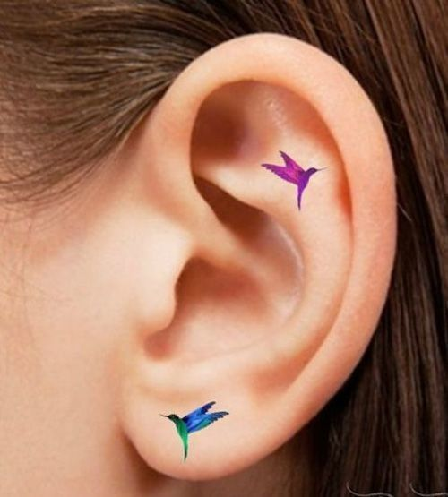 Lovely Hummingbirds - Helix Ear Tattoos That Are So Much Better Than Piercings - Photos