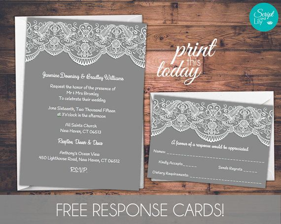 Lace Wedding Invitation Template  FREE Response by ScriptAndLily