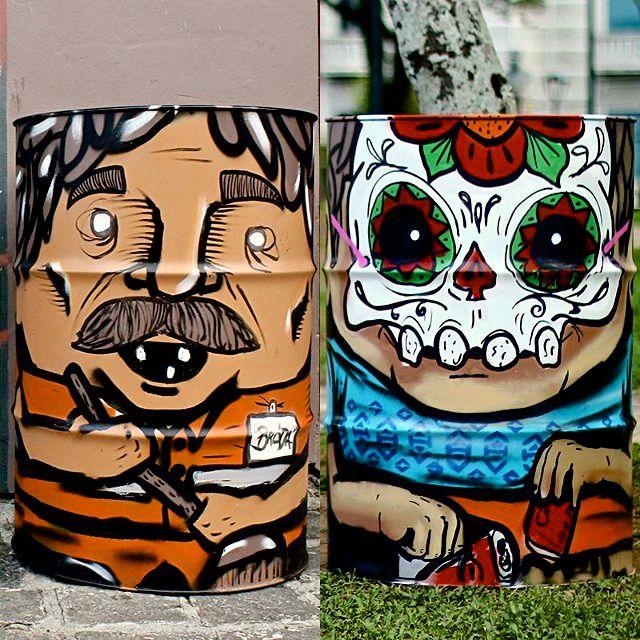 Grafiteiro usa arte de rua para resolver falta de lixeiras em Curitiba
