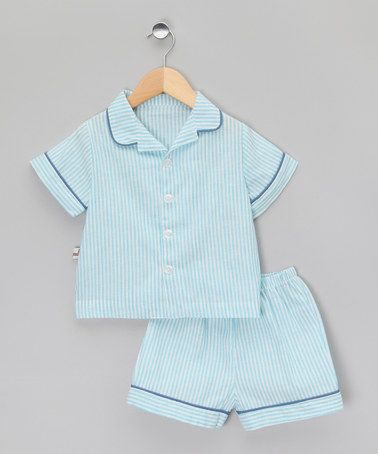Take a look at this Navy Stripe Classic Short Pyjamas - Infant, Toddler Kids by La Piyama on #zulily today!