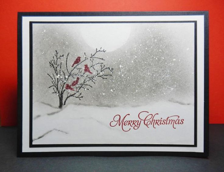 "By Mary (jandjccc at Splitcoaststampers). On white cardstock, mask moon and ground. Use chalk for sky. Stamp birds in bush from ""Serene Silhouettes"" (Stampin' Up) in black and cherry cobbler ink. Use toothbrush to flick white acrylic paint on the sky for snowflakes. Remove masks. Add hills with chalk. Stamp sentiment. Mat on black, then white cardstock. Attach to black card base."