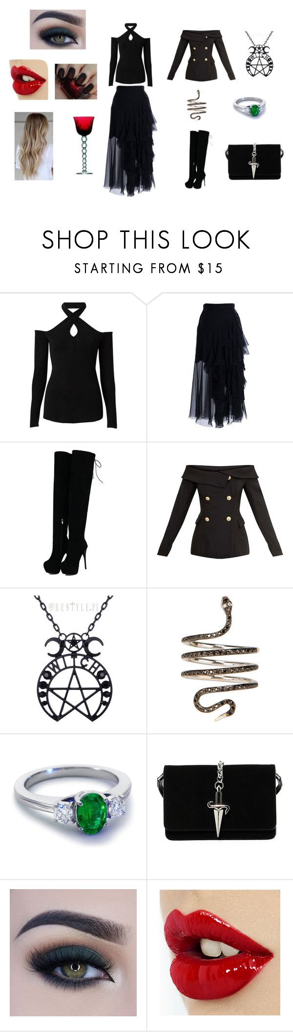 """""""The Witching Hour"""" by mystikskays ❤ liked on Polyvore featuring Witchery, Parlor, Ileana Makri, Blue Nile, Cesare Paciotti, Too Faced Cosmetics and Saint Louis"""