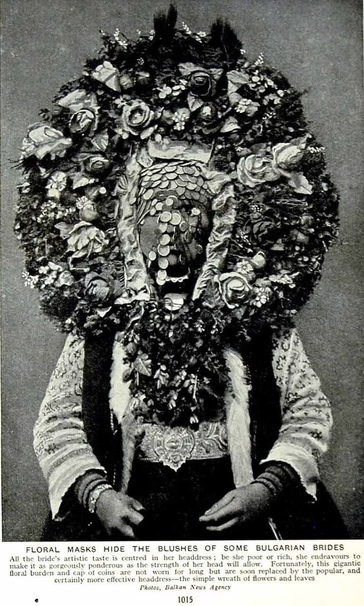 "Bulgarian bride - she ""endeavours to make her headdress as gorgeously ponderous as her head will allow."" Interesting."