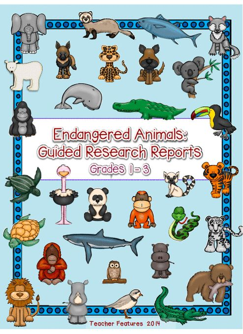 *JUST PRINT & GO! Guided Research Reports: Endangered Animals (Grades 1 - 3) Everything you need to get your students started on a beginning guided research project! Follow the Guided Research Process and use the graphic organizer templates to teach your class how to navigate and organize information. Students will create Important Questions (essential questions) to provide focus to their research. There are 30 Endangered Animals included in this bundle.