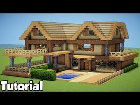 Minecraft How to Build a Large Wooden House Tutorial