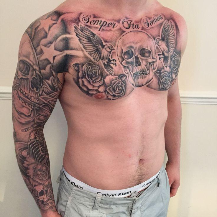 Chest Piece Tattoo,scull,rose,birds