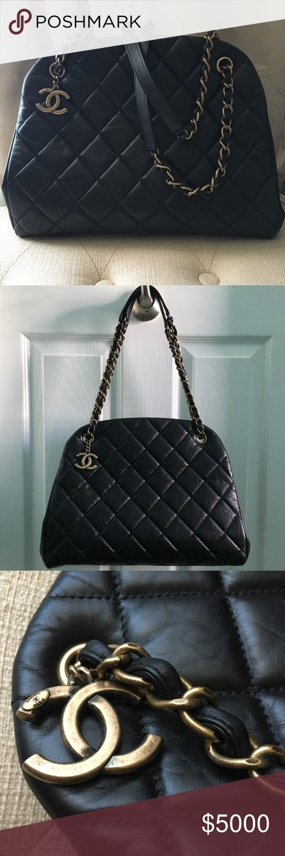 New Chanel Bowling Bag Black Quilted Gold Chain Authentic Chanel Mademoiselle Bowling Bag in large size purchased from Chanel boutique. I never got a chance to use the beautiful bag but held on to it with intentions to because it's just so beautiful! In perfect condition. Stored in a smoke and pet free home. Comes with authenticity card and dust bag. I still have the box but please ask first if you must have it. It's just been sitting in my closet. CHANEL Bags Totes