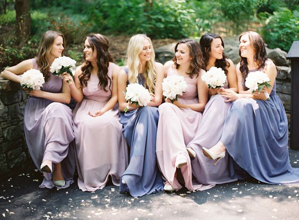blue, purple & blush mix-and-match bridesmaid dresses | image via: ruffled blog