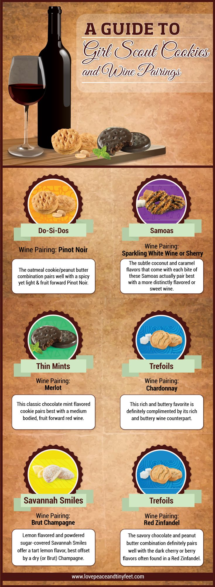 Let's support the good cause of our awesome girls by trying out some of their decadent Girl Scout cookies! But did you know that there are best wines to be paired with these delicious cookies? Check out this fun Girl Scout cookies wine pairing guide:  #girlscoutcookies #winepairing #cookies